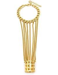 Bijou de main composé d'une bague de style filet et d'un bracelet, reliés par de minces chaînes à maillons, couleur or JB2020GD