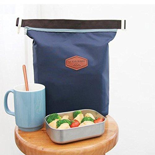 Hkfv creative Fashion design pranzo Keep Warm borse impermeabile termica lunch box Portable borsa tote Storage picnic, Nylon, Pink, Size:28cm×24cm×9cm Navy