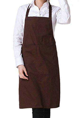 Lumanuby 1 Stück Reine Farbe Ärmellose Schürze die Bar/Restaurant Klassische Kochschürze Uniform für Kellner/Koch 60*70.0cm, Küchen zubehör Serie (Braun) (Leinwand-slip Klassische)