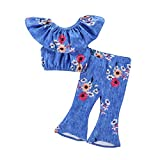 Mode Mädchen Floral Short Casual Suit Set, U-Boot-Shirt Tops + Flare Hosen Kleidung (Color : Blau, Size : 3T)