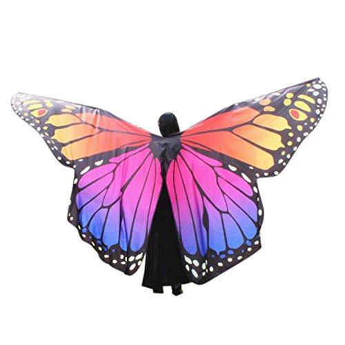Damen Kostüm Verkleidung für Fasching Party Ägypten Bauch Flügel Tanz Kostüm Schmetterling Flügel Tanz Zubehör Keine Sticks Tanz speziell wasserdicht (Orange, F) (F Party Kostüme)
