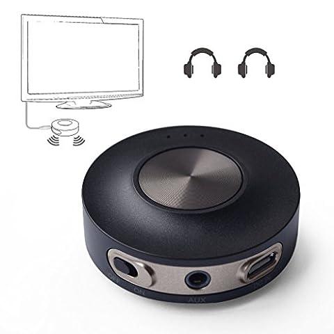 Avantree Transmetteur Bluetooth V4.2 pour TV, Dual link aptX LOW LATENCY Supporté, 3.5mm Adaptateur Audio Sans Fil pour Casques audio, No Batterie - PRIVA III [2 ans de