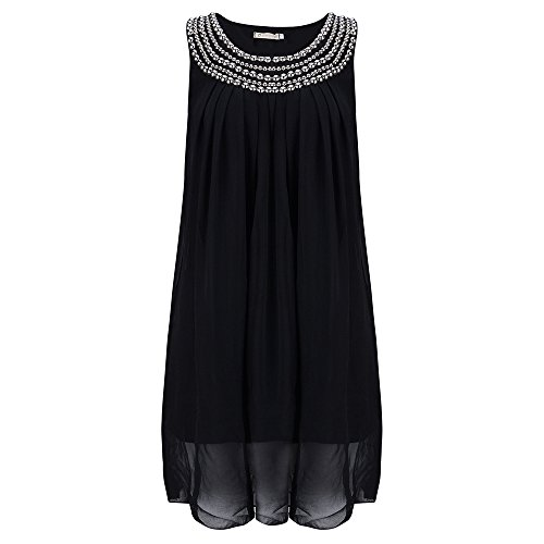 BigForest Damen sleeveless Chiffon scoop neck with bead Loose Casual mini Party Dress Black