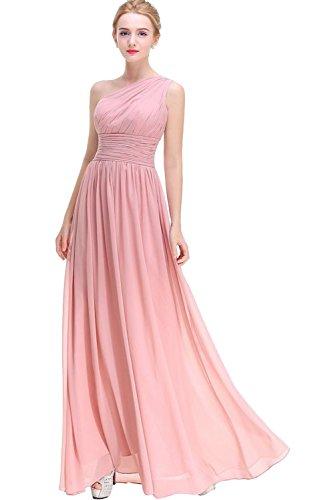 Milano Bride Rosa Ein-Traeger Chiffon Geraft Abendkleider Ballkleider Partykleider Bodenlang A-linie Rock Festlichkleider Rosa