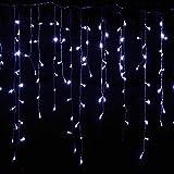 FENGZE Weihnachtsbeleuchtung Outdoor Dekoration Anhänger Led Vorhänge Eiszapfen String Neujahr Hochzeit Girlande Lights Weiß