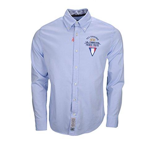 La Martina Herren Freizeithemd Man Shirt L/S Oxford Stretch, Blau (Cornflower Blue 07032), M -