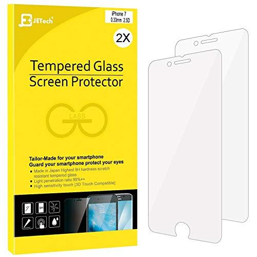 JETech Protector de Pantalla para iPhone 8 iPhone 7, Vidrio Templado, 2 Unidades