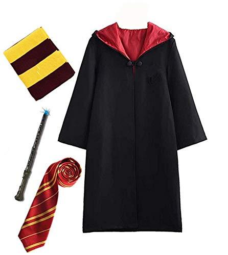 Disfraz de Harry Potter para niño Adulto Unisex Capa Disfraz Cosplay Conjunto Traje Varita mágica Corbata Bufanda Gafas Gafas Marco Sombrero Camisa de roca Carnaval Disfraz Carnaval Halloween 105-237