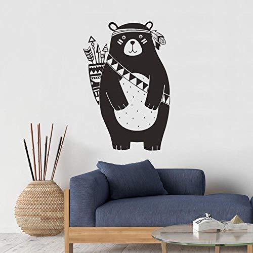 Woodland Weißen Schreibtisch (Wandtattoos & Wandbilder Tribal Bear Wandtattoo Woodland Animal Bear Wandaufkleber für Kinderzimmer Tribal Nursery Wandaufkleber Dekoration Vinyl Wandbild 37x55cm)
