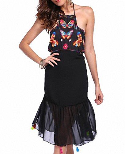 Sommer Strand Kleider Damen Abendkleider Kurz Ethnische Gestickte Hippie Bluse Gypsy Boho Minikleid Schwarz