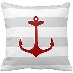Cerca de rojo ancla gris rayas blancas funda de almohada 18 x 45,72 cm de tamaño estándar con cremallera Invisible de la funda de almohada