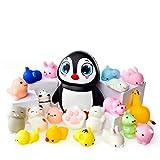 Juguetes Mochi Squishys - Pack de 20 Squishys y 1 Squishi Pingüino Jumbo de Hinchado Lento - Gato Mochi Squishy, Squishy Panda, Animales Mochi - Squishys Kawaii Jumbo - Squishys Para Llavero Correa