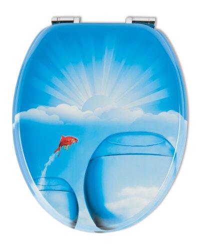 WC-Sitz Dekor Goldfischglas | Toilettensitz | WC-Brille aus Holz | Soft-Close-Absenkautomatik | Metall-Scharnier | Fast-Fix-Schnellbefestigung
