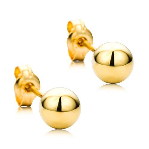 Orovi Orecchini Donna Sfera Piccoli a Lobo in Oro Giallo Oro 18 kt /750