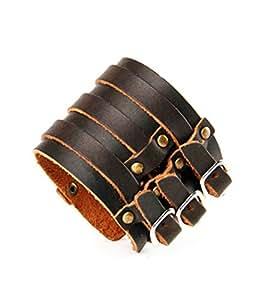 Cameleon-Shop - Bracelet Cuir - Force Triple Clouté - Fixation Acier Inoxydable - Réglable de 20,5 à 23,5 cm - Marron