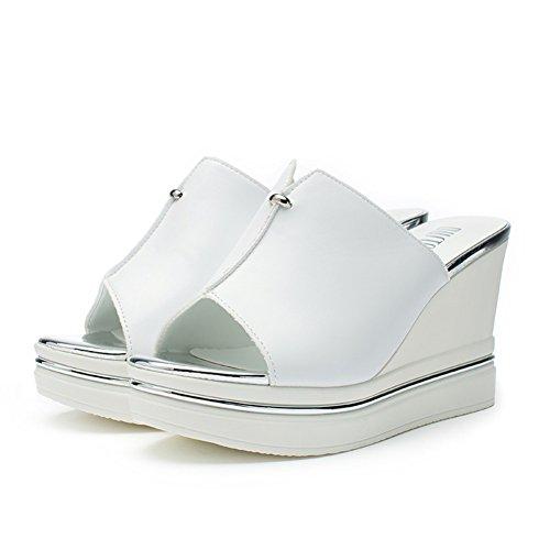 Versione coreana di scarpe tacco alto con infradito in estate/Zeppe Sandali e pantofole A