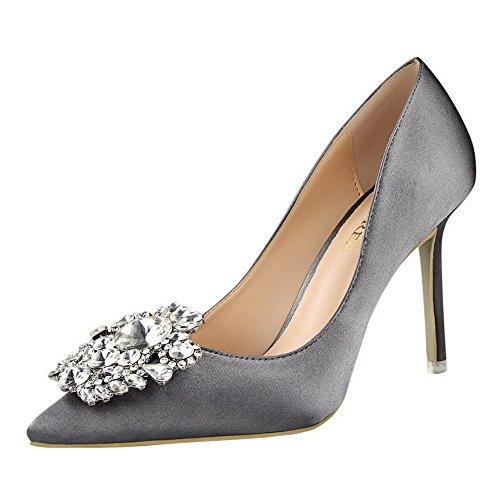 XNBZW Damen Spring Mode Wildleder Einzelne Schuhe Spitzen Strass Stiletto Spitzen Flächen Mund High Heel Stiletto Arbeitsschuhe (Grau,38 EU)