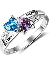 81a88b4facca Souljewelry Anillo de Compromiso de Plata Ley925 Personalizado con Nombres  y Piedra natales Anillos de Diamante Simulado Regalo…