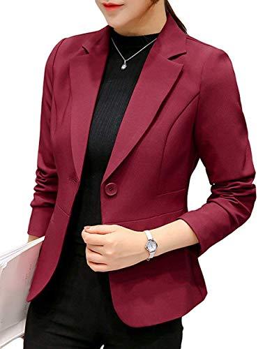 ORANDESIGNE Damen Blazer Cardigan Elegant Leicht Bolero Jacke Blazer Slim Fit Anzug Trenchcoat Weinrot DE 38 -