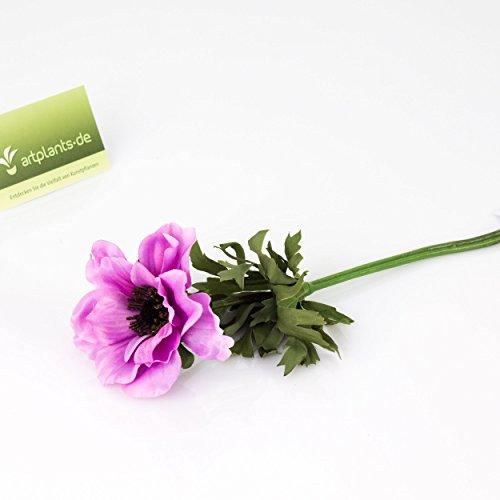 artplants Set 12 x Künstliche Anemone, Lavendel, 35 cm, Ø 9 cm – Kunstblume/Dekoblume