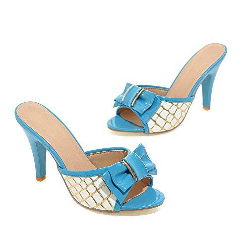 AllhqFashion Damen Offener Zehe Ziehen Auf Pu Leder Gemischte Farbe Hoher Absatz Sandalen Mit Hohem Absatz Blau