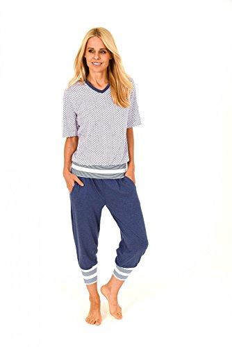 Lässiger Damen Pyjama kurzarm in toller Optik - Caprihose mit Bündchen - 171 204 90 839, Größe:36/38;Farbe:weiss (Capri Lounge-hose)