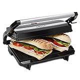 NETTA Panini Sandwich Press, Toastie Maker, Electric Health Grill, Sandwich Maker 2 Slice with Non-Stick Plates - 700W Stainless Steel