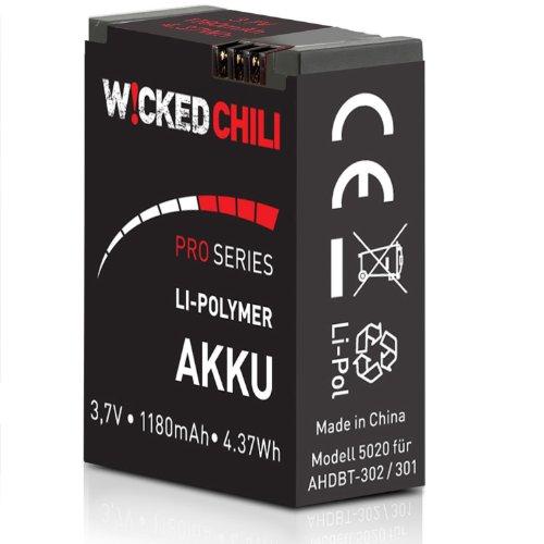 Wicked Chili Akku für GoPro Hero 3+/Hero 3 – Black/White/Silver Edition [ersetzt AHDBT-302/AHDBT-301] (ProSeries, 1180mA, 3,7Volt, 4,37Wh, je Akku bis zu 118 Minuten Videoaufnahme)