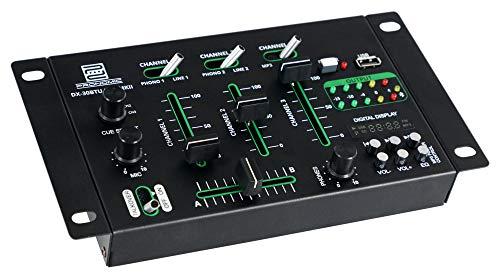 Pronomic DX-30BTU USB MKII DJ-Mixer - Bluetooth - 3 Kanäle - Cue-Funktion - USB/MP3/Bluetooth-Player - inkl. Netzteil