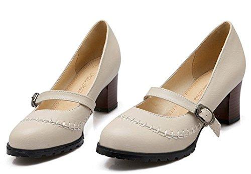 YE Damen Runde Zehe Geschlossen Blockabsatz Mary Jane Pumps Mit Riemchen 5CM Schuhe Beige