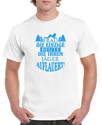 die einzige Beute die ihrem Jäger auflauert! - Herren T-Shirt - Weiss / Blau Gr. S (Weiße Beute Beutel)