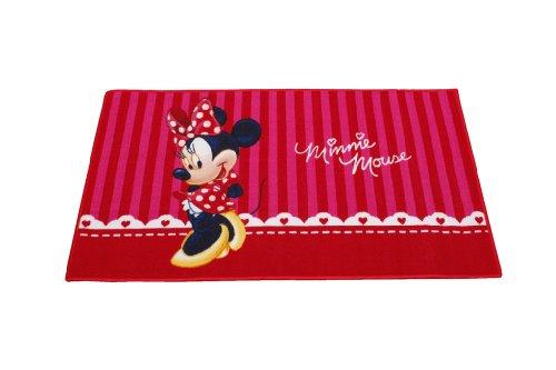Bavaria-Home-Style-Collection Kinderteppich Mädchen Spielteppich Teppich Kinderzimmer Babyteppich Motiv Minnie Mouse Farbe Weiss Rot Gr. 80x 140 cm (Prinzessin-spiel-teppich Disney)