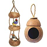 Pure Coconut Shell and Coir Swing Toys Combo for Finches and Sparrows