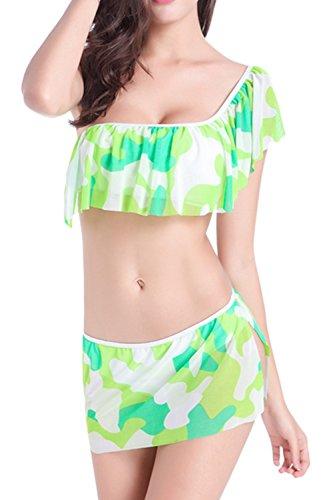 Floreale monospalla Tankini Bikini Set Yacun donna Green