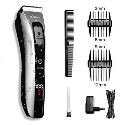 Tagliacapelli professionale senza fili macchinetta per barba rasoio elettrico per capelli kit con lama di ceramica batteria ricaricabile impermeabile display a LED & 2 allegati (3/6mm, 9/12mm)