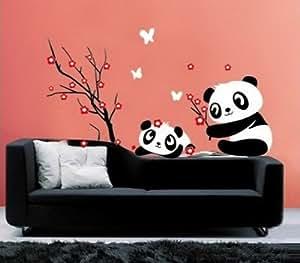 sunnicy wandtattoo panda blumen baum schwarz. Black Bedroom Furniture Sets. Home Design Ideas