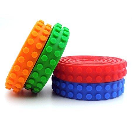 Baustein Band, JOMOQ Silikon Bauklötze Band Rolle Selbstklebende Spielzeug Band für Konstruktionsspielzeug (orange,green,dark blue,red)