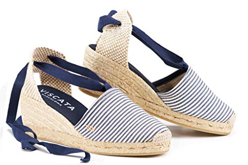 VISCATA  Classic Espadrilles Heel Made in Spain, Marineblau / Weiß - 36 M EU / 5.5-6 M US (Schuhe 36 M)