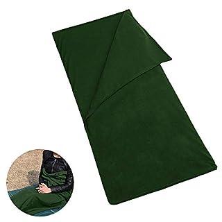 Pawaca Double Zipper Polar Fleece Sleeping Bag Lightweight,Comfort with Compression Sack Sheet Camping Sleep Sack For Summer Camping or Liner For Winter, Micro-Fleece Blanket Army Green (180 * 150)