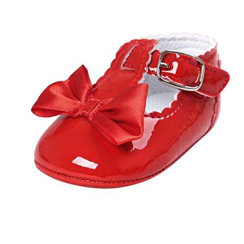 Baby-erste gehende Schuhe, Auxma Baby-Mädchen Bowknot-Dekoration Gleitschutzsohle Schuhe für 0-18 Monate (12cm(6-12M), Rot)