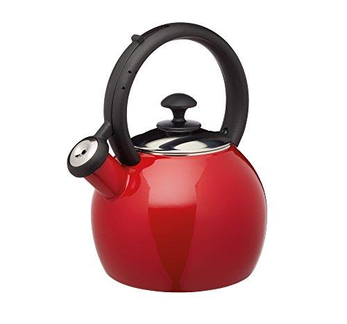 KitchenCraft KCLXKETENRED - Hervidor para silbato, color rojo y negro