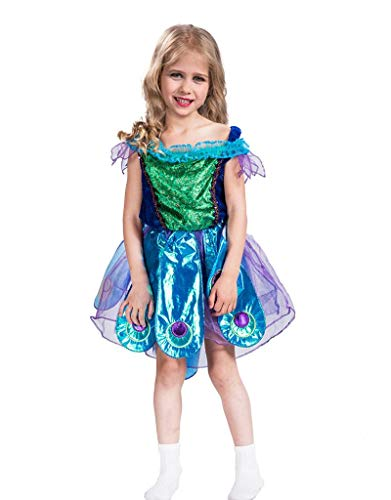 A&J DESIGN Kinder Mädchen Pfau Halloween Party Karnevals Kostüm (Blau, S=110 cm)