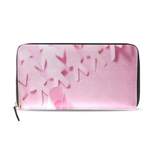Pink Ribbon Breast Cancer Awareness Lange Passport Clutch Geldbörsen Zipper Wallet Case Handtasche Geld Organizer Tasche Kreditkarteninhaber Für Lady Frauen Mädchen Männer Reisegeschenk -