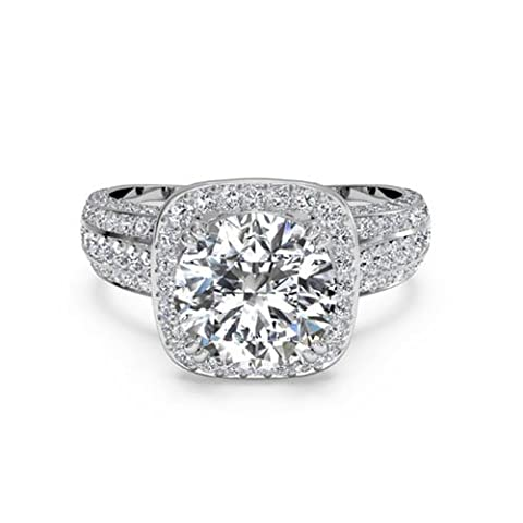 1,35ct Diamant Hochzeit Ring Kissen Schnitt aus massivem 14K Weiß Gold Lab Erstellt Diamant Größe I, J, K L M N - 49 (15.6)