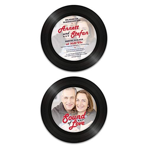 40 x Runde Hochzeitseinladungen Silberhochzeit silberne Hochzeit Einladung individuell - Schallplatte Sound of Love