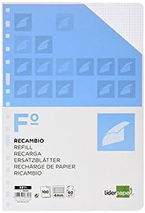 recambio: RECAMBIO LIDERPAPEL FOLIO 100 HOJAS 60G/M2 CUADRO 4MM CON MARGEN 16 TALADROS