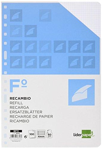 RECAMBIO LIDERPAPEL FOLIO 100 HOJAS 60G/M2 CUADRO 4MM CON MARGEN 16 TALADROS