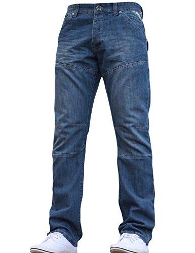 Enzo Herren Straight Leg Jeanshose Blau - Light wash