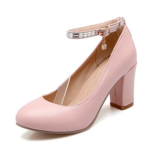 Odomolor Damen Schnalle PU Leder Rund Zehe Hoher Absatz Rein Pumps Schuhe, Pink, 42