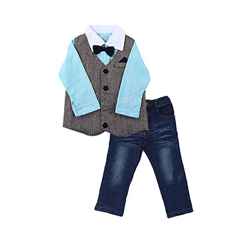 Babymode Babybekleidung Mädchen Kleider Jungenbekleidung Mädchenbekleidung Outfits Baumwolle Nachtwäsche Baby Herrenhemd Weste Jeans Fliege Freizeit Body Neugeborenes Set Felicove -